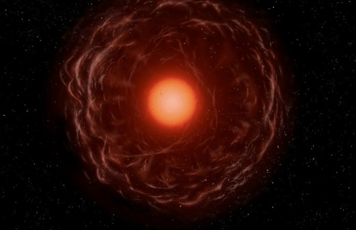 Rudý obr v představách malíře. Credit: ESO