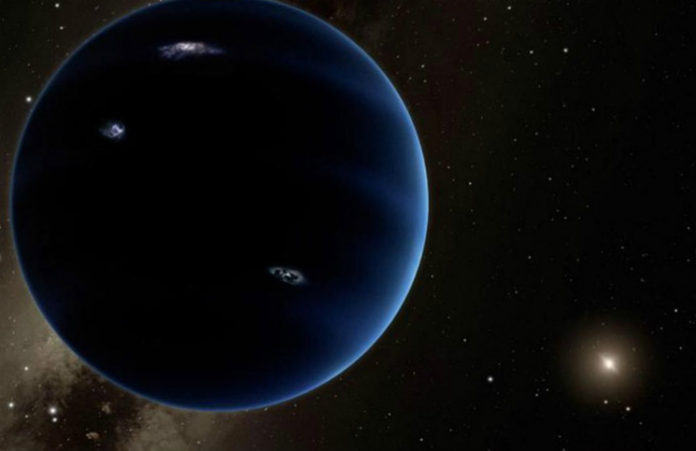 Planeta Devět (kresba), credit: Caltech/Robert Hurt