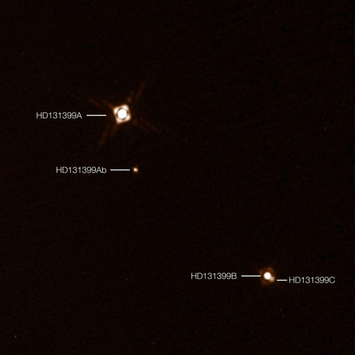 Hvězdy HD131399A, HD131399B, HD131399C a planeta HD131399Ab. Credit: ESO/K. Wagner et al.