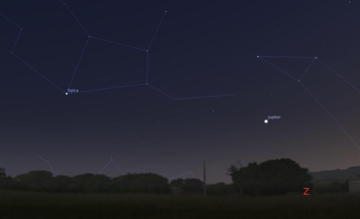 Jupiter 4. července kolem 22:30 nad západním obzorem. Zdroj: Stellarium