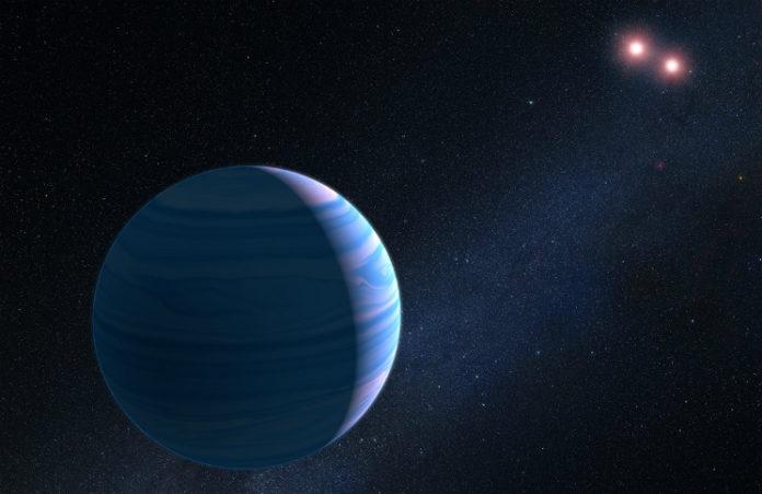 OGLE-2007-BLG-349 v představách malíře, credit: NASA, ESA, and G. Bacon (STScI)