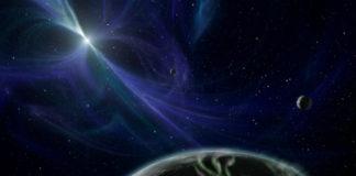 Exoplanety u pulsarů v představách malíře. Credit: NASA/JPL-Caltech/R. Hurt (SSC)