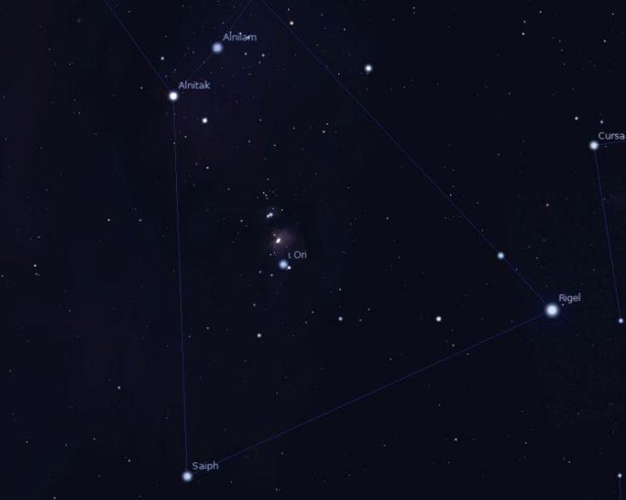 Mlhovina M42, zdroj: Stellarium