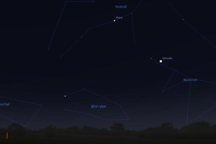 Venuše a Mars na večerním nebi. Zdroj: Stellarium