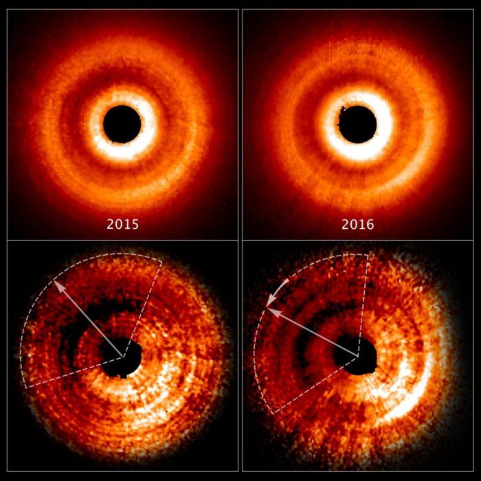 Disk u TW Hydrae a posun stínu v průběhu roku. Credits: NASA, ESA, and J. Debes (STScI)