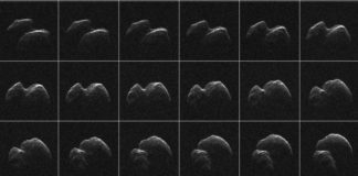 Asteroid 2014 JO25 na snímcích z radioteleskopu Goldstone. Credit: NASA, JPL-Caltech, Goldstone Solar System Radar