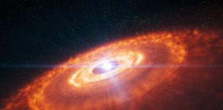 Protoplanetární disk. Credit: ESO/L. Calçada