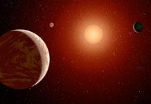 Exoplanety u červeného trpaslíka. Credit: NASA