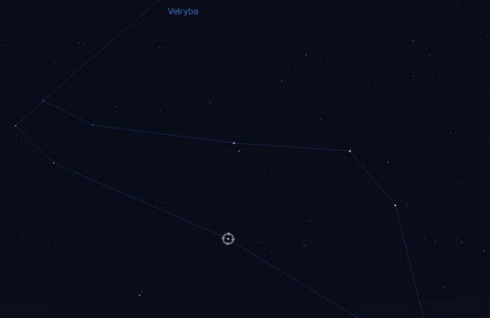 Pozice Tau Ceti v souhvězdí Velryby. Credit: Stellarium