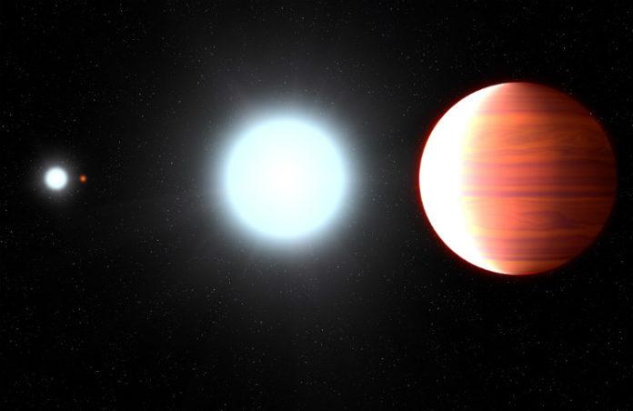 Kepler-13 stvoří tři hvězdy a obří planeta obíhající okolo největší z hvězd. Credit: NASA, ESA, and G. Bacon (STScI)