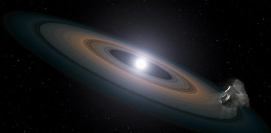 Disk a asteroid u bílého trpaslíka. Credit: Foto: ESA/Hubble, Wikipedia, CC BY 4.0