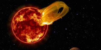 Erupce na Proximě Centauri. Credit: Roberto Molar Candanosa / Carnegie Institution for Science, NASA/SDO, NASA/JPL