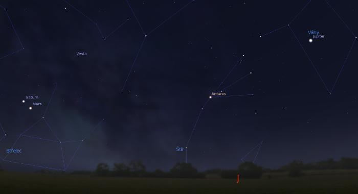 Mars, Saturn a Jupiter na obloze okolo 4:30 v pondělí 2. dubna.