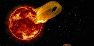 Erupce červeného trpaslíka. Credit: Roberto Molar Candanosa / Carnegie Institution for Science, NASA/SDO, NASA/JPL