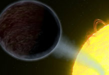 Temná exoplaneta. Credits: NASA, ESA, and G. Bacon (STScI)