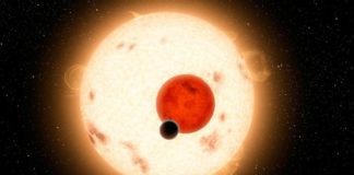 Kepler-16 v představách malíře. Credit: NASA, Caltech