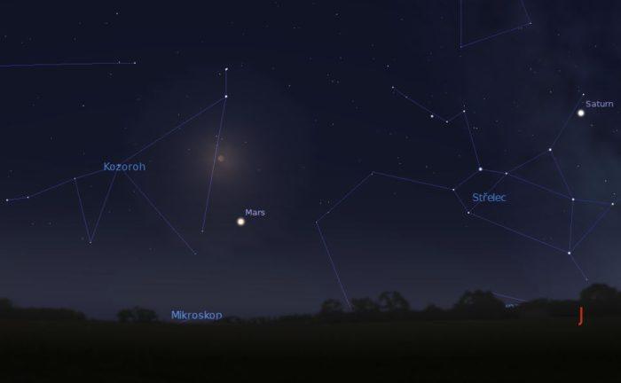 Měsíc a Mars nad jižním obzorem 27. července asi ve 23:30. Foto: Stellarium