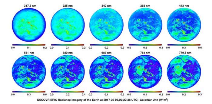 Země v různých vlnových délkách. Credit: EPIC (DSCOVR), NASA, Jonathan H. Jiang et al.