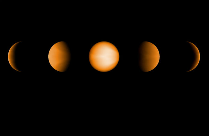 Simulované fáze exoplanety WASP-121b. Credit: NASA/JPL-Caltech/Aix-Marseille University (AMU)