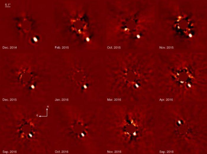 Exoplaneta Beta Pictoris b na snímcích z přístroje SPHERE. Credit: ESO, A. Lagrange et al., 2018