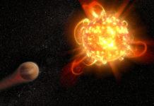 Erupce u červeného trpaslíka s exoplanetou. Credit: NASA, ESA, and D. Player (STScI)