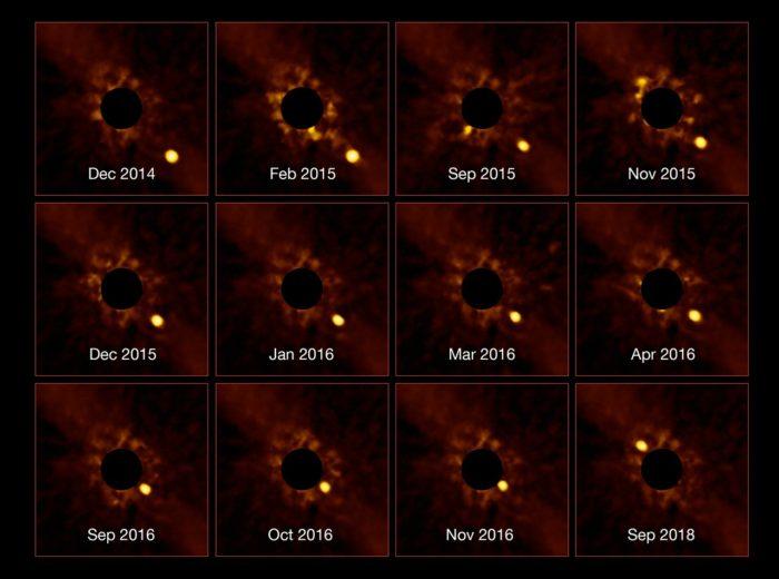 Beta Pictoris b na snímcích z přístroje SPHERE Evropské jižní observatoře. Credit: ESO/Lagrange/SPHERE consortium.