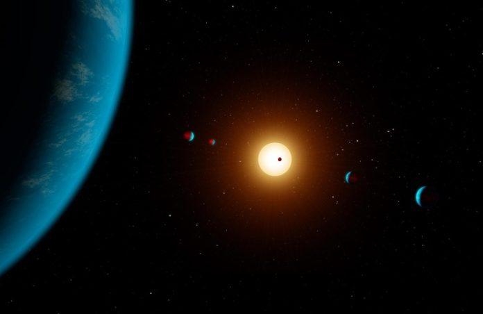 Multiplanetární systém v představách malíře. Credit: NASA/JPL-Caltech/R. Hurt (IPAC)