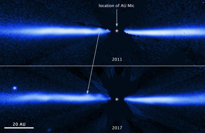 Disk u AU Mic na snímcích z Hubblova dalekohledu. Credit: NASA, ESA, J. Wisniewski (University of Oklahoma), C. Grady (Eureka Scientific), and G. Schneider (Steward Observatory)
