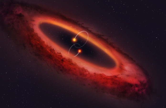 Polární protoplanetární disk. Credit: University of Warwick/Mark Garlick.