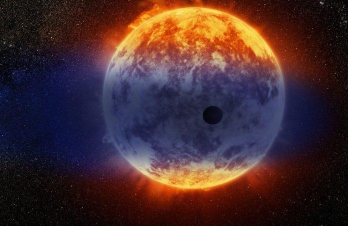 GJ 3470 b v představách malíře. Credit: NASA/ESA/D. Player (STScI)