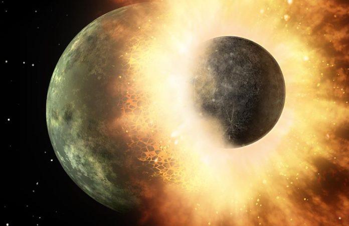 Při gigantické srážce Země a tělesa o velikosti Marsu vznikl náš Měsíc. Credit: NASA/JPL-Caltech