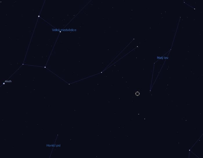 Pozice Gliese 411 v souhvězdí Velké medvědice. Zdroj: Stellarium