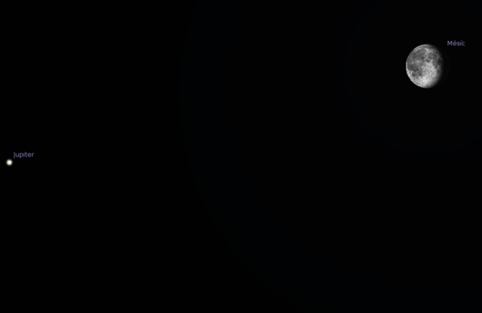 Jupiter a Měsíc. Zdroj: Stellarium