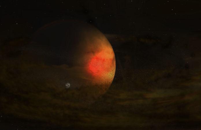 Disk okolo mladé planety PSD 70c. Credit: NRAO/AUI/NSF, S. Dagnello