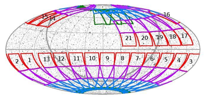 Sektory TESS a posunutí sektorů 14,15 a zřejmě i 16 na sever. Credit: NASA. MIT