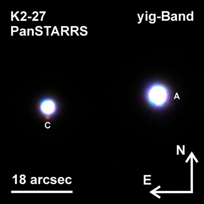 Jeden ze zkoumaných systémů. K2-27 obsahuje tři hvězdy a nachází se 800 světelných let od nás v souhvězdí Lva. Foto: Mugrauer, PanSTARRS